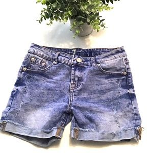 7 For All Mankind Rolled Denim Shorts